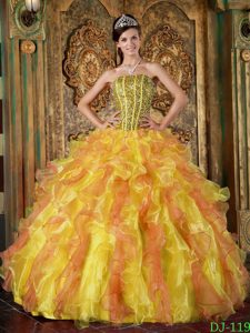 Multicolor Strapless Beaded and Ruffled Sweet 16 Quinceanera Dress