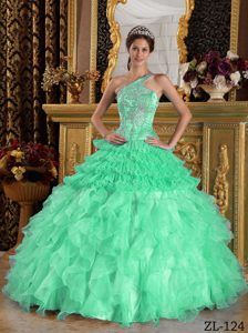 Green One Shoulder and Beaded Sweet 16 Quinceanera Dress