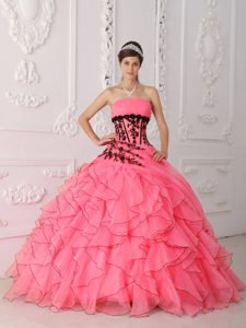 Sweet Strapless Quinceanera Dress with Appliques and Ruffles on Promotion
