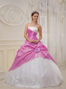 Strapless and Tulle Beaded Quinceanera Dress with Hand Made Flower