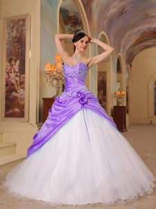 Lavender and White Sweetheart Beaded Quinceanera Dress