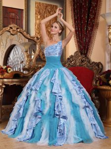 Multicolor One Shoulder Quinceanera Dress with Ruffles on Wholesale Price