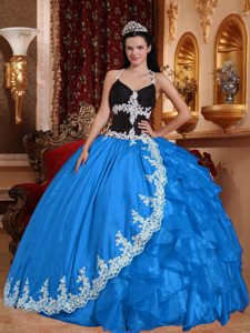 Top Halter Appliqued Baby Blue and Black Quinces Dress Organza