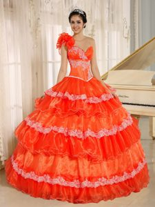Top One Shoulder Appliqued Tiered Orange Red Quince Dress