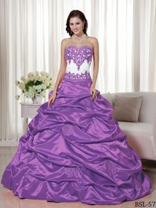 Recommended Appliqued White and Purple Sweet 15 Dress Pick-ups