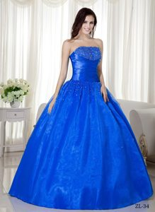 Customized Strapless Beaded Blue Ball Gown Quinces Dresses