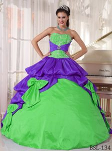 Gorgeous Strapless Appliqued Two-Toned Quinceanera Gowns