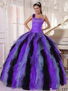 Beautiful One Shoulder Beaded Ruffled Quinceanera Gown Dresses