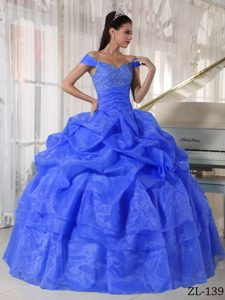 Top Off-the-shoulder Blue Sweet 15 Dress with Pick-ups