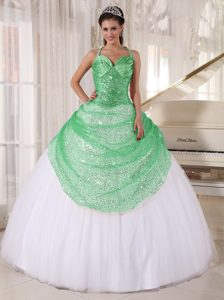 2015 Apple Green and White Quinceanera Gown Dress with Spaghetti Straps