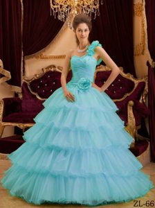 Luxurious Blue A-line One Shoulder Quinceanera Dresses with Ruffled Layers