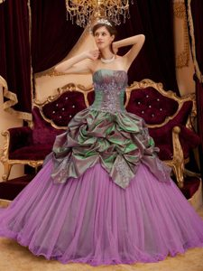 Exquisite Rose Pink Beading Strapless Quinceanera Dress and Tulle