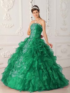 Attractive Green Ball Gown Strapless and Sweet Sixteen Dress