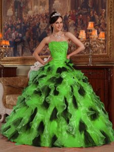 Nice Green and Black Strapless Quinceanera Gowns to Floor-length