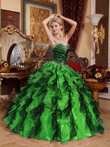 New Multicolor Sweetheart Beaded and Ruffled Quinceanera Dresses