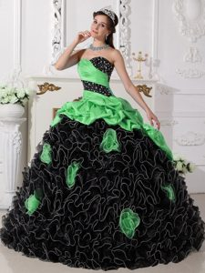 Hot Green and Black Beaded Quinceanera Dress with Rolling Flowers