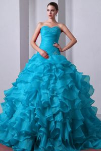 Pretty Blue Sweetheart Beaded and Ruffled Quinceanea Dress with Brush Train