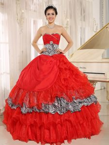 Wholesale Red Sweetheart Ruffled Quinceanera Dress with Zebra and Beading