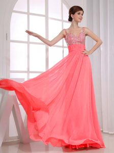 Custom Made Watermelon Long Beaded Straps Chiffon Prom Dress for Seniors