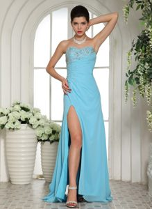 Sweetheart Long Aqua Blue Ruched Chiffon Prom Dress with Beading and Slit
