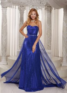 Amazing Royal Blue Sweetheart Brush Train Sequin and Chiffon Prom Celebrity Dress