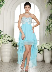 Sweetheart Layered High-low Chiffon Prom Holiday Dresses with Appliques