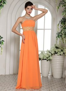 Bright Orange Strapless Long Chiffon Beaded Prom Evening Dress with Ruching