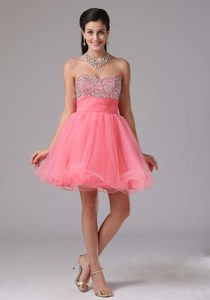 Watermelon Mini-length Sweetheart Tulle Prom Pageant Dress with Beading for Cheap