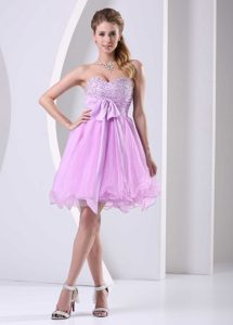 Sweetheart Mini-length Baby Pink Prom Dress for Girls with Beading and Sash on Sale