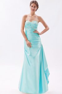 Sweetheart Long Baby Blue Ruched Prom Party Dresses with Appliques