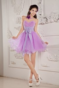 Cute Lilac Beaded Mini-length Prom Homecoming Dress for Cheap