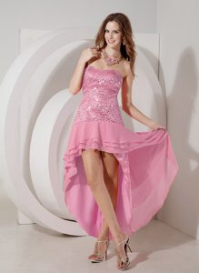 Gorgeous Rose Pink High-low Strapless Chiffon Maxi Party Dress with Sequin