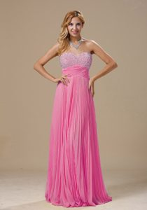 Hot Pink Pleating Sweetheart Beaded Pretty Maxi Party Dress to Floor Length
