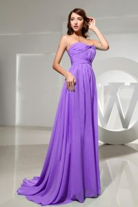 Famous Strapless Ruche Maxi Party Dress in Eggplant Purple with Brush Train
