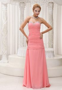 Bright Beaded Ruched Sweetheart Maxi Wedding Dresses in Watermelon Red