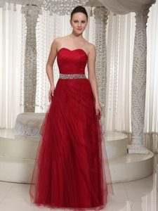 Wholesale Price Tulle Sweetheart Maxi Party Prom Dress with Beaded Sash