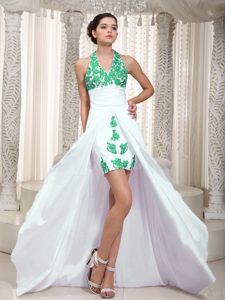 Newest Appliques White High Low Ruched Maxi Party Dress with Halter Top