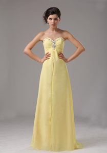 Lovely Yellow Sweetheart Chiffon Prom Maxi Dress with Beading for Cheap