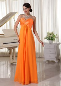 Pretty Orange Sweetheart Celebrity Maxi Dress Made Chiffon