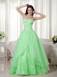 Apple Green A-line Sweetheart Beaded Prom Maxi Dress in on Sale