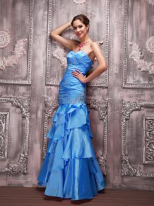 Aqua Blue Column Sweetheart Beaded Prom Maxi Dress with Ruffles