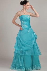 Column Strapless Prom Maxi Dresses with Appliques and Beading