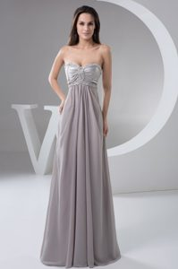 Best Ruched Sweetheart Long Empire Gray Chiffon Maxi Dress with Beading