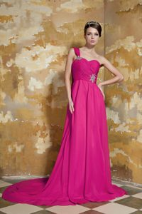 Hot Pink One-shoulder Watteau Train Chiffon Maxi Dress with Beading and Ruching
