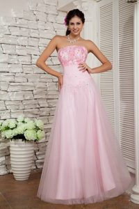 Cheap Baby Pink Strapless Long Tulle Maxi Dress with Appliques and Beading