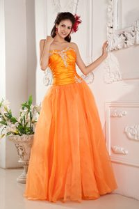 Orange Sweetheart Long and Ruched Appliqued Maxi Dresses