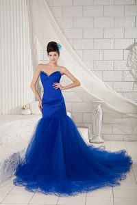 Royal Blue Sweetheart Court Train and Tulle Maxi Dress with Beading for Less
