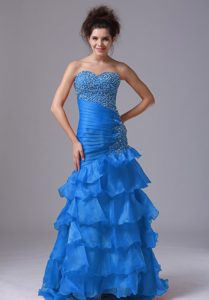 Sky Blue Sweetheart Long Night Club Dress with Beading and Ruffles