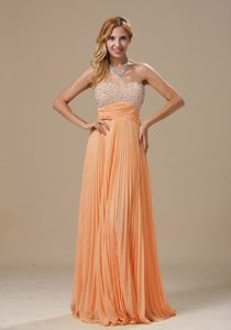 Orange Sweetheart Long Chiffon Night Club Dresses with Beading and Pleats