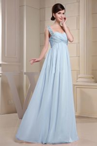 Baby Blue Beaded Straps Long Chiffon Night Club Dress with Ruching on Sale